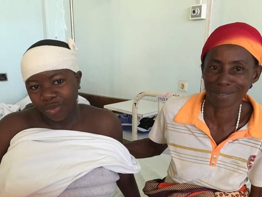 Jerardine Irankunda recovers from her surgery in Tanzania.