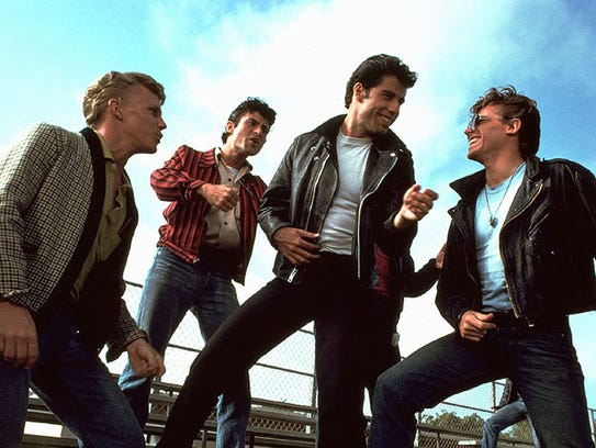 A scene from the 1978 musical 'Grease.' From left: