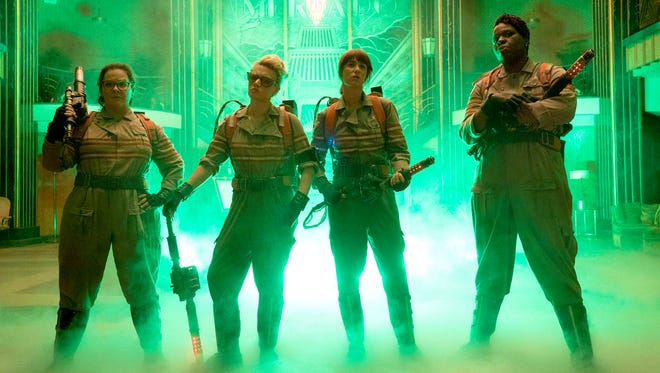 """The new Ghostbusters: Abby (Melissa McCarthy, from left), Holtzmann (Kate McKinnon), Erin (Kristen Wiig) and Patty (Leslie Jones) inside the Mercado Hotel Lobby in Columbia Pictures' """"Ghostbusters."""""""