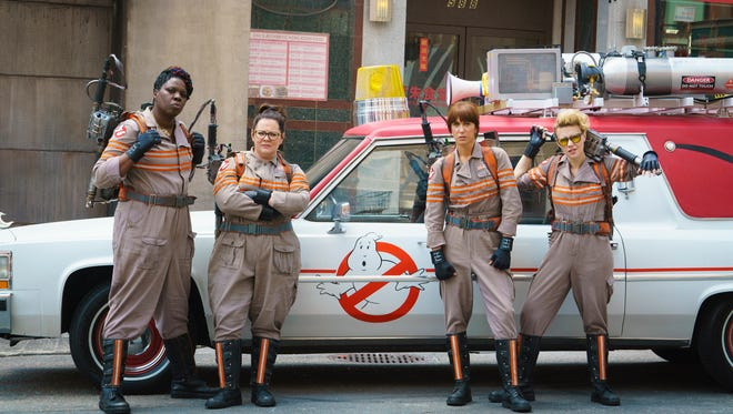 """Ghostbusters Patty Tolan (Leslie Jones), Abby Yates (Melissa McCarthy), Erin Gilbert (Kristen Wiig) and Jillian Holtzmann (Kate McKinnon) in """"Ghostbusters."""" The movie opens Thursday at Regal West Manchester Stadium 13, Frank Theatres Queensgate Stadium 13 and R/C Hanover Movies."""