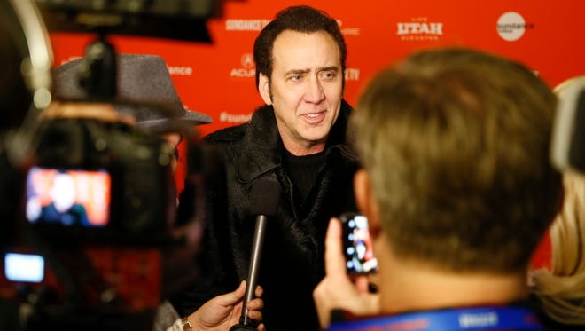 "Nicolas Cage is interviewed at the premiere of ""Mandy"" during the 2018 Sundance Film Festival in Park City, Utah."