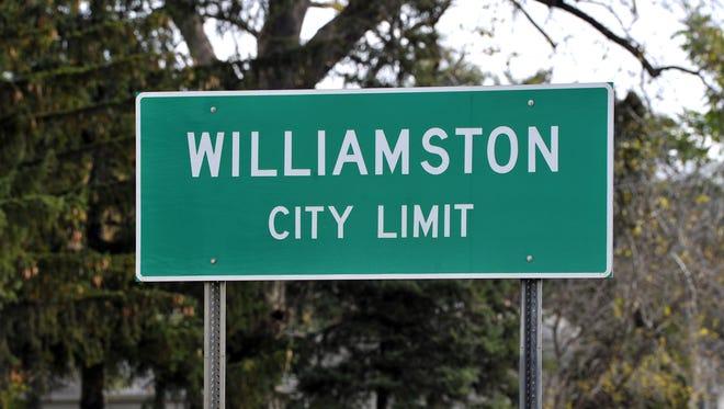 Williamston city limit sign