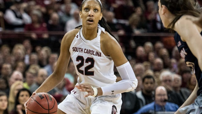South Carolina forward A'ja Wilson is averaging 16.1 points and 8.7 rebounds a game.