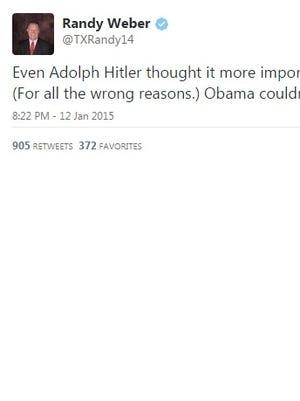 Texas congressman Randy Weber's tweet from Monday night.