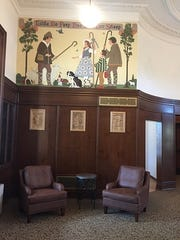 Murals and carvings in the former Children's Waiting Room of the Eastman Dental Dispensary are being re-created or restored.
