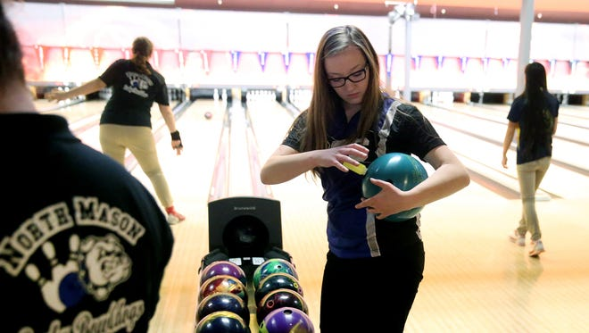 Olympic High's Ashlyn Jamrog gets set to bowl in the Olympic League championships at All Star Lanes in Silverdale.