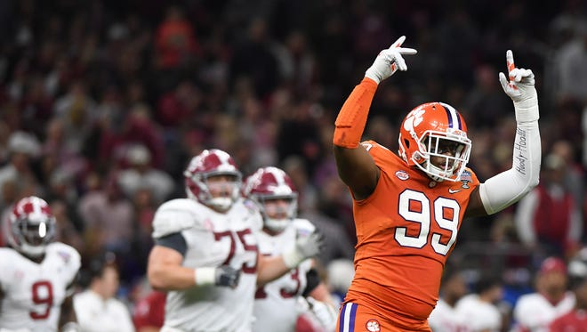 Clemson defensive lineman Clelin Ferrell (99) during the 2nd quarter of the Allstate Sugar Bowl at the Mercedes-Benz Superdome in New Orleans on Monday, January 1, 2018.