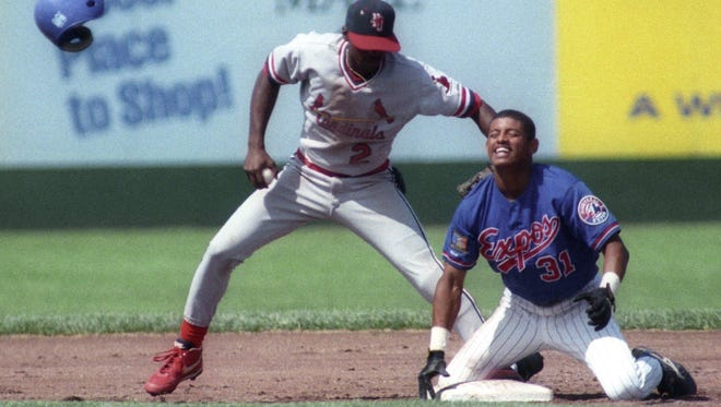 Orlando Cabrera throws his helmet down after being caught trying to get back to second base in this August 1995 file photo when he played for the Vermont Expos.