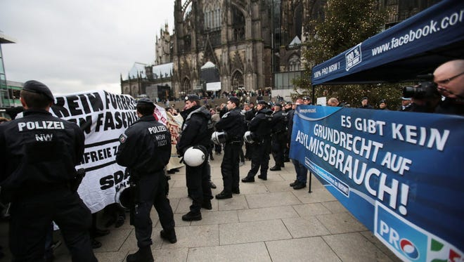 Demonstrations on Jan. 6, 2016, related to New Year's Eve attacks on women in Cologne, Germany.