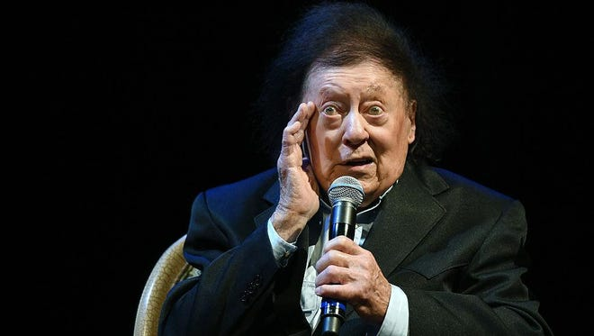 Comedian/actor Marty Allen performs during a show celebrating his 94th birthday at the Rampart Casino at The Resort at Summerlin on March 26, 2016 in Las Vegas. Allen has died in Las Vegas. He was 95.