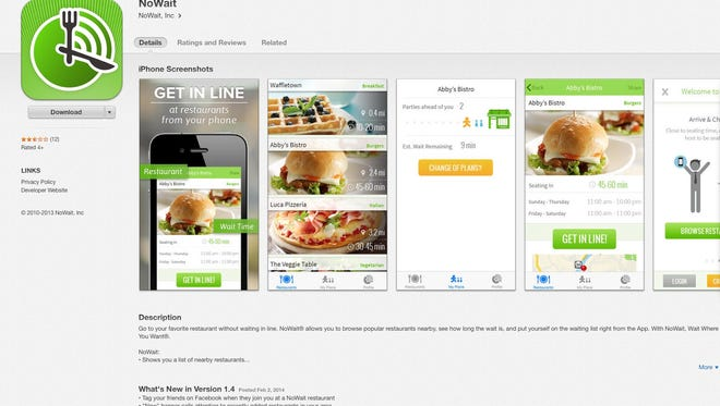 Nowait lets you know via text when there's room in a restaurant.