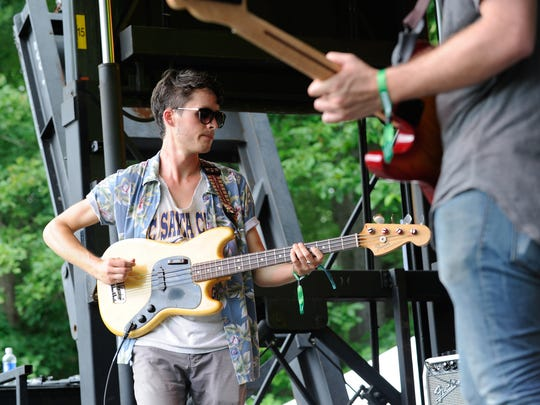 Fiancé bassist Tyler Yoder helps open Day 2 of Firefly Music Festival in Dover Friday.