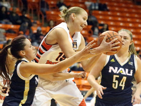 UTEP forward Agata Dobrowolska, 15, snags a rebound