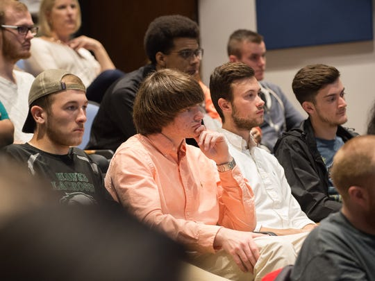 Delaware Technical Community College students listen to Gov. Jack Markell speak at the school's Dover campus on Tuesday about the Student Excellence Equals Degree Scholarship. The program, which provides financial aid to students, is being expanded to those who attend part time.