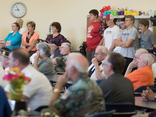 Vietnam War veteran and Medal of Honor recipient Ken Stumpf addresses the American Heroes Cafe on Wednesday at the Lowell Senior Center in Wisconsin Rapids.