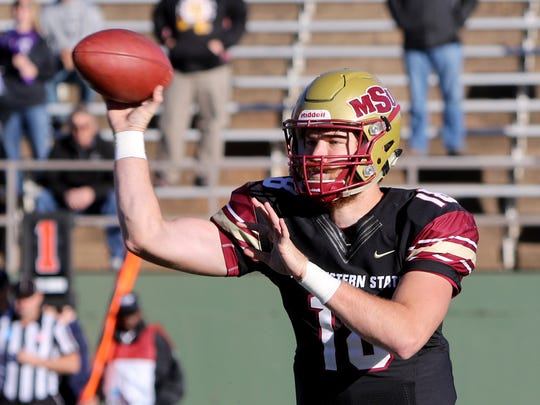 Midwestern State's Layton Rabb passes in a playoff game against Sioux Falls Saturday, Nov. 18, 2017, at Memorial Stadium. The Mustangs defeated the Cougars 24-20 in the first round of the NCAA DII Playoffs.