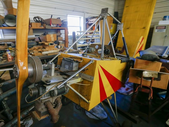 A Fisher 101 plane Hardesty's is building in his shop in Ozark.