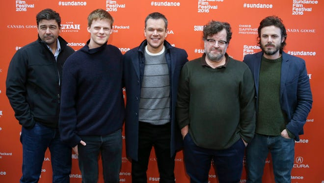 Kyle Chandler (from left), Lucas Hedges, Matt Damon, director Kenneth Lonergan and Casey Affleck arrive for the premiere of 'Manchester By the Sea' at Sundance Film Festival.