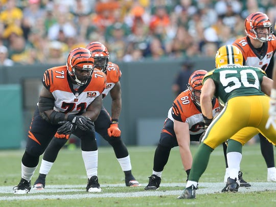 Cincinnati Bengals offensive tackle Andre Smith (71) lines up at right tackle during the Week 3 NFL football game between the Cincinnati Bengals and the Green Bay Packers, Sunday, Sept. 24, 2017, at Lambeau Field in Green Bay, Wisconsin.