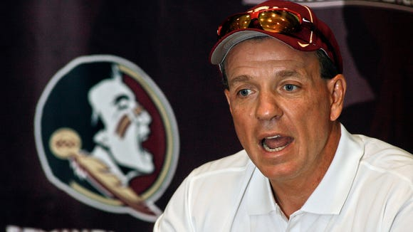 Florida State head coach Jimbo Fisher speaks to members of the media during the Seminoles' media day