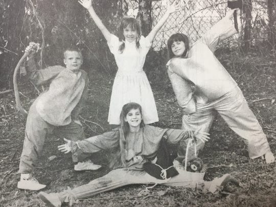 District 4-H talent show winners in May 1993 were, from left, Paul Rhye, LeAnn Duncan, Katy Kirchner, and Erin Harman for their Wizard of Oz skit.
