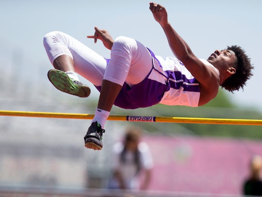Miller's Xavier Callandret competes in the high jump