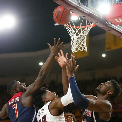 Arizona Wildcats guard Rawle Alkins (1) and forward