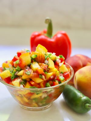 Easy Southern Fresh Peach Salsa with jalapenos is sweet and spicy.