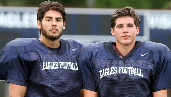 Brothers Dylan (left) and Cole Rogers during Middletown South practice Aug. 20.