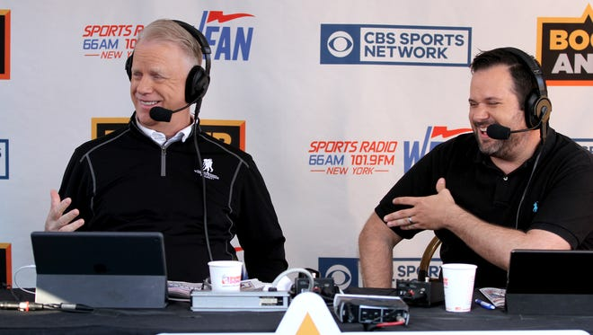 """Boomer Esiason and Gregg Giannotti (right) are shown during a break in WFAN's """"Boomer and Gio Show"""" Kick Off to Summer live broadcast at the Headliner in Neptune."""