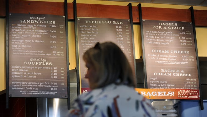 The Panera Bread on East 82nd Street in Indianapolis gives consumers many options while giving the nutritional information on Tuesday, March 23, 2010.