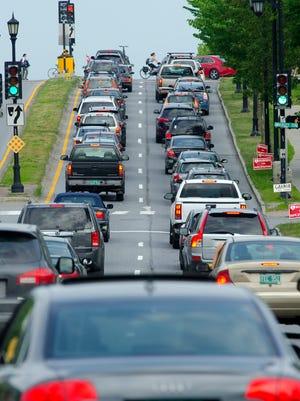 Rush hour traffic on Main Street in Burlington.