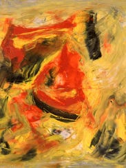 """""""Black, Red, Gold"""" by Beauford Delaney, 1963"""