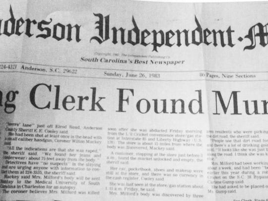 A copy of an Anderson Independent Mail story on June