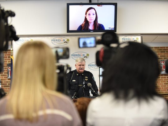 Police Chief Dave Hall talks during a press conference