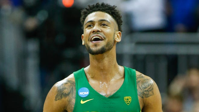 Mar 25, 2017; Kansas City, MO, USA; Oregon Ducks guard Tyler Dorsey (5) reacts during the second half of the game against the Kansas Jayhawks in the finals of the Midwest Regional of the 2017 NCAA Tournament at Sprint Center. Oregon defeated Kansas 74-60. Mandatory Credit: Jay Biggerstaff-USA TODAY Sports