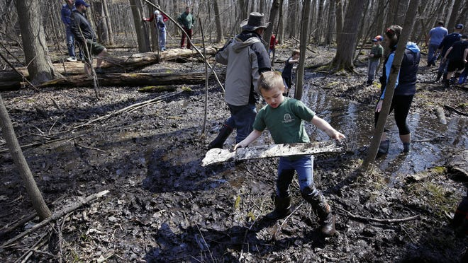John Hermans of Kimberly discovers a dinosaur bone as he takes part in Mayhem in the Mud April 8, at Heckrodt Wetland Reserve in Menasha. The muddy event let families get messy while learning about prehistoric animals.
