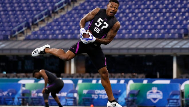 Mar 5, 2018; Indianapolis, IN, USA; Florida State Seminoles defensive back Derwin James goes through work out drills during the 2018 NFL Combine at Lucas Oil Stadium. Mandatory Credit: Brian Spurlock-USA TODAY Sports