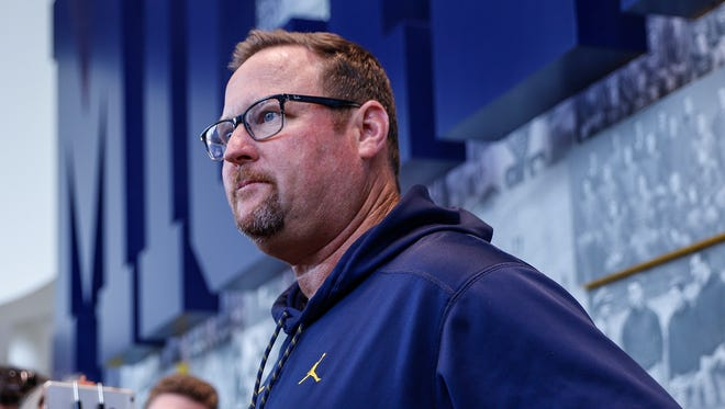 U-M football offensive coordinator Tim Drevno answers questions during press conference at the Towsley Museum in Schembechler Hall on Aug. 3, 2017 in Ann Arbor.