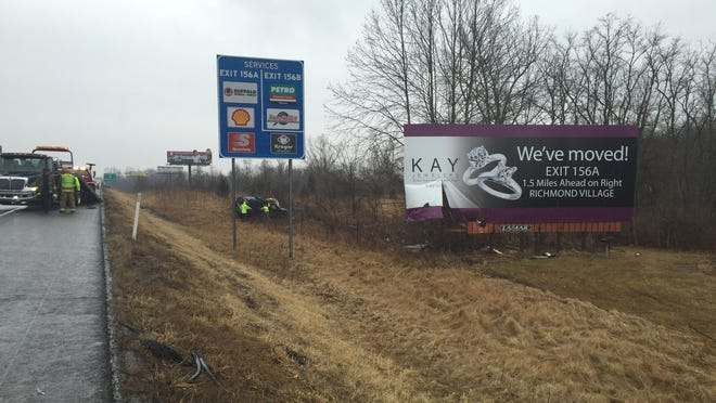 A driver who fell asleep caused a SUV to drive off eastbound Interstate 70 and crash through a Kay Jewelers billboard before coming to rest on the driver's side in the brush near mile marker 155 Friday afternoon. Three Richmond residents in the SUV were injured and remained hospitalized Friday night.