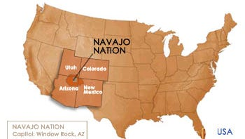 Map indicates area of the Navajo Nation.