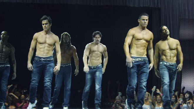 "This image released by Warner Bros. Pictures shows a scene from ""Magic Mike XXL,"" in theaters on July 1. New City native Adam Rodriguez is shown on the far right."