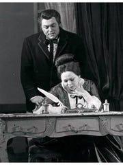 "Renata Scotto in a London production of ""La Traviata."" Don't recognized the man behind her? It's Luciano Pavarotti."
