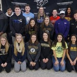 Plymouth High School athletes gather on National Signing Day. Standing (from left) are Victor Abraham II, Chris Walls, Kyle Wolter, Josh Sulak, Daniella Barile, Katelyn Chipman, Cassidy Lewis, Allison Lennig, Darwin Filey II, Jewel Davis and Trevor McManus. Kneeling (from left) are Rachel Zerona, Natalie Nowicki, Megan McCurry, Olivia Janke, Anna DeBiasi and Kathryn Gordon.