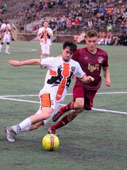 The Michigan Bucks' Marcelo Borges (left) takes on a Detroit City FC defender in the US Open Cup.