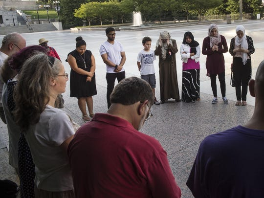 About 25 members of the Muslim community and others prayed to show the Chattanooga community their support. The group gathered at the Legislative Plaza on Sunday.