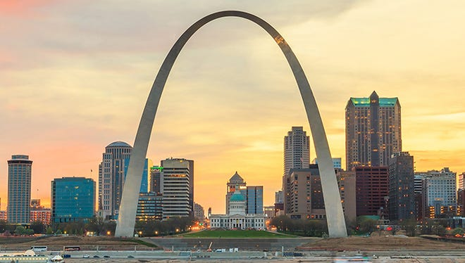 The Gateway Arch strikes an impressive pose on the downtown St. Louis skyline.