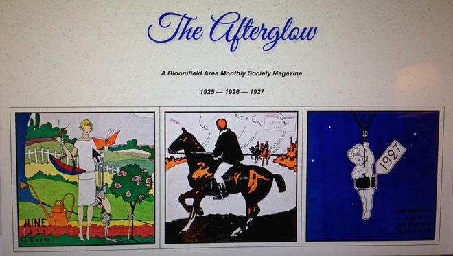 Three covers from the Afterglow magazine are featured on the Bloomfield Township Library website. The magazine was published in the 1920s and today it gives insights into life of the wealthy estate dwellers in the Bloomfield area.
