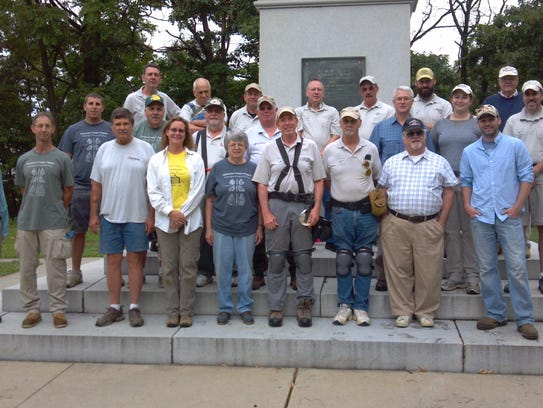 Members of BRAVO pose at Red Bank Battlefield.