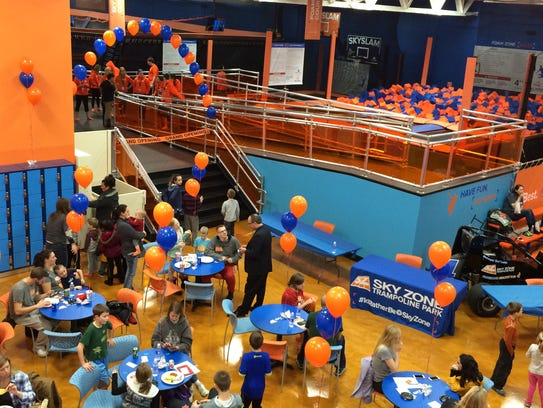 Those arriving early for Sky Zone Trampoline Park's